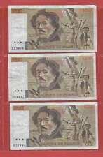 Lot de 3 x 100 FRANCS EUGENE  DELACROIX de 1986 ALPHABETS    S.114  T.114  C.115
