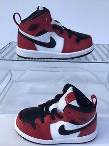 Nike Jordan 1 Mid (TD)'Chicago Black Toe'(Toddler Sz.5C) Black-Red (640735-069)