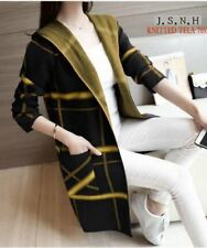 LADIES LONG CARDIGAN KNITTED (BLACK YELLOW)