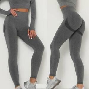 Womens High Waist Sports Yoga Pants Push Up Fitness Gym Energy Seamless Leggings