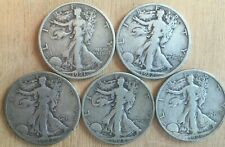 """5 Walking Liberty Half Dollars incl. 1921-S and other """"S"""" from the 20's See Pics"""