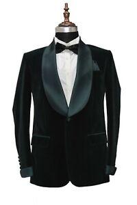 Men Green Smoking Jackets Designer Elegant Wedding Dinner Blazers Coats UK