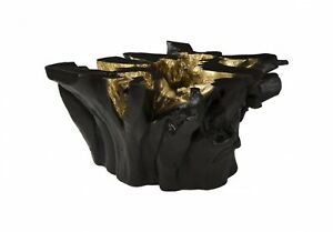"30"" W Coffee Table Freeform Black Gold Leaf Resin 1474"
