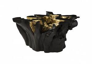 """30"""" W Coffee Table Freeform Black Gold Leaf Resin 1474"""