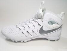 Nike Huarache V 5 LAX Lacrosse Football Cleats Sz 13 White Silver 807142-100