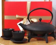Gift Box - Cast iron flared teapot kettle Black Tetsubin, cups & Star trivet  1L