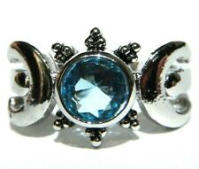 MOON PHASE RING silvertone blue crystal stone full & crescent Wiccan Pagan V3