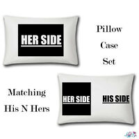Her Side His Side Matching Pillow Cases | Funny Bedding | Bedroom | Novelty Case