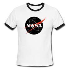 Nasa Black Logo Men's Ringer T-Shirt, Space astronaut rocket shirt