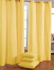Homescapes Pair of 100% Cotton Ready Made Curtains - Gingham Check - Yellow -