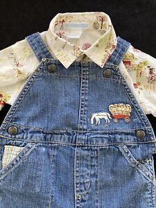 Janie and Jack Farm Theme Denim Overalls & Button Down Shirt -3-6 Mos