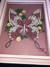 Butterfly Flowers Handmade Paper Quilling Artwork Framed 3D Wall Art