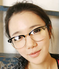 Unisex Black Horn Club Style Fashion Nerd Half Frame Clear Lens Glasses