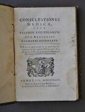 Medicina Consultatione Medicae Boerhaave Aborto Calcoli Febbre Occhi 1744