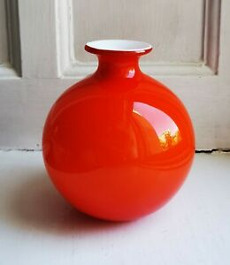 Retro vintage small chilli red / white Holmegaard Carnaby made in Denmark 1960s