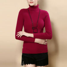 Women Cashmere Sweater Autumn Winter Knitted Turtleneck Pullover Warm Jumper