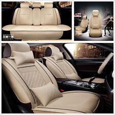 Car Deluxe Edition Seat Cover Cushion Front+Rear 5-Seats PU Leather w/Pillow Kit