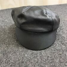 Genuine Leather Soft Black Newsboy Cap Adjustable One Size S11-1