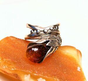 Antique Style Golden Bronze Ring-Genuine Honey Baltic Amber Stone-Size 7