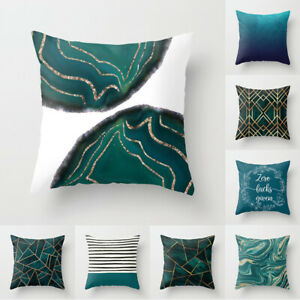 Teal Blue Double-sided Printing Square Pillowcase Sofa Cushion Cover Home Decor