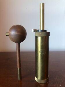 "Vintage Brass CVA Black Powder Flask Made in Italy 7 5/8"" w/Muzzleloader access."