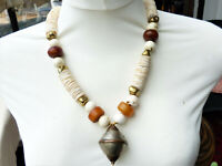 Antique Tuareg Pendant, African Amber and Shell Necklace, African Necklace, OAAK
