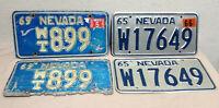 Vintage License Plate Nevada 1965 / 1966 & 1969 / 2001 - 4 Piece Lot / 2 Pair
