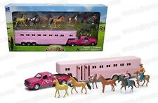 NEW Sunshine Ranch Girls Horse Trailer & Truck Pink w/6 Horses & Figures