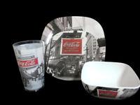 Coca-Cola Melacore 4 Place Settings 16 Pieces Coke Noir Dish Bowl Plate