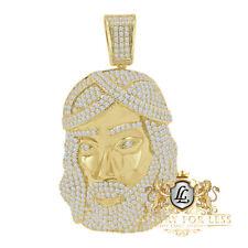 Big 3'' Men's 14K Gold Finish Jesus Face Piece Simulated Diamond Charm Pendent