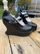 Vintage Demonia Talla 6 Goth único Zapatos Negro Tartán Doble Hebilla