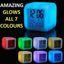 NEW 7 LED Alarm Clock Colour Changing Digital Alarm Cube with Thermometer CU01