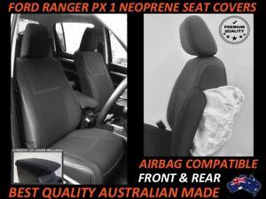 FITS FORD RANGER PX MKI FRONT&REAR NEOPRENE SEAT COVERS FULL BACKS 4xMAP POCKETS