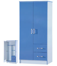 High Gloss Blue 2 Door 2 Drawer Wardrobe - Marina Kids Bedroom Furniture