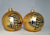 Vintage 90s Christmas Blown Glass X 2 Pharaoh Tree Baubles