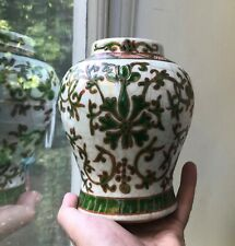 Old Vintage Chinese Porcelain Famille Verte enamelled Lotus Flower Vase pot good