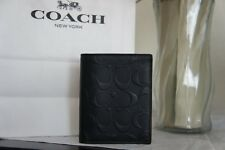 NWT COACH F11970 MENS BLACK SLIM WALLET IN SIGNATURE CROSSGRAIN LEATHER $185