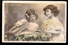 1907 tinted real photo girls writing France postcard