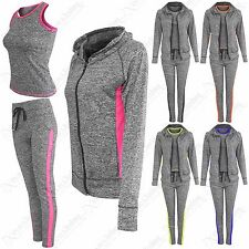 WOMEN LADIES HOOD TOP VEST LEGGING 3 PC SUIT GYM SPORT YOGA WORKOUT FITNESS WEAR