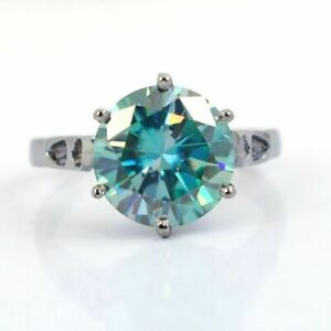 3.85 Ct Blue Diamond Solitaire Ring In White Gold Finish, Excellent Cut & Luster