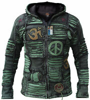 Green Stonewashed Funky Jacket Goth Cotton Light Men's Elf Pointed Hippie Hoodie