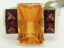 GENUINE 3.56 Carats YELLOW TOPAZ & SPESSARTITE RING 10k GOLD ** New with Tag **