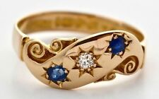 Arthur Walter Crosbee & Co,18kt Diamond & Sapphire Gypsy Ring, Made 1904 Chester
