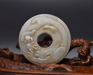 5.5 cm China Antique Old Jade Pendant Dragon Natural Hetian jade Pendant amulet