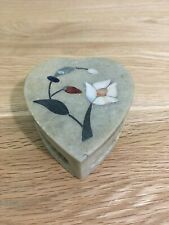 Vintage Hand Carved Heart Shaped Soapstone Trinket Box  -  Mother of Pearl Inlay