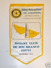 Vintage DEL RIO BRANCO San Paulo Brasil Rotary International Club Banner Flag