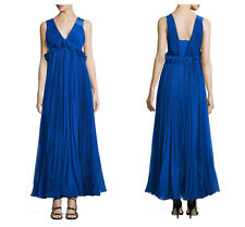 🆕REBECCA TAYLOR Chiffon Pleated SILK Gown Dress SIZE 12 Deep Blue $1095