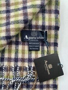 AQUASCUTUM SCARF BRAND NEW WITH TAGS LAMBSWOOL Green and heather