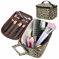 Small Leopard Print Cosmetic Makeup Travel Bag Toiletry Organizer with Mirror