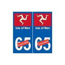 Isle of Man île autocollant plaque sticker numéro choix arrondis